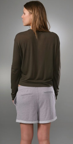 Alexander Wang 1x1 Rib Long Sleeve Tee with Pocket