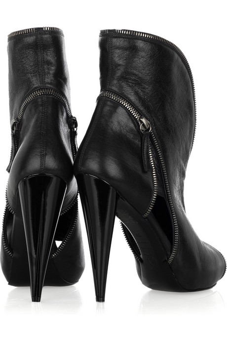 Alexander McQueen Cutout leather ankle boots