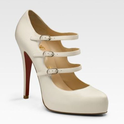 Christian Louboutin Three-Strap Mary Jane IVORY