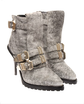 Alexander Wang Buckled leather ankle boots Grey