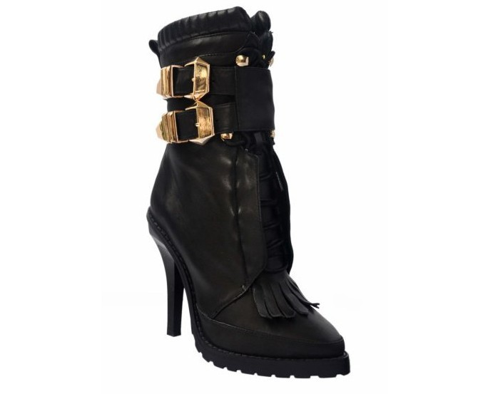 ALEXANDER WANG Lara high heel leather combat boots
