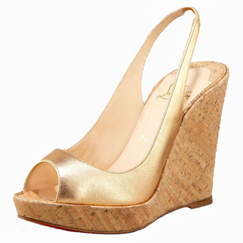 Christian Louboutin Metallic Cork Platform Wedge