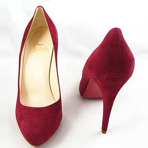 christian louboutin decollete suede pumps red