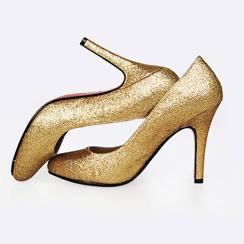 Christian Louboutin Decollete golden glitter